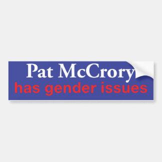 Pegatina Para Coche Pat McCrory tiene problemas de género