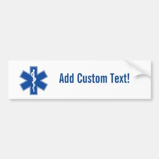Pegatina Para Coche Personalizado del símbolo del paramédico de EMT