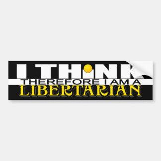 Pegatina Para Coche Pienso que por lo tanto soy un libertario