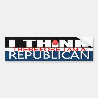 Pegatina Para Coche Pienso que por lo tanto soy un republicano