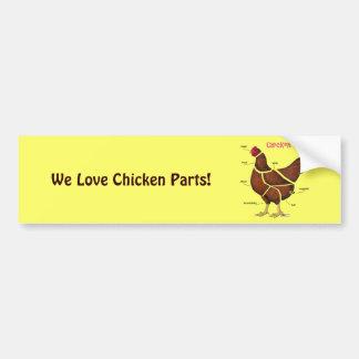 Pegatina Para Coche Piezas del pollo