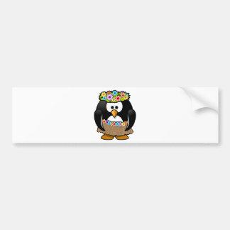 Pegatina Para Coche Pingüino hawaiano con las flores y la falda de
