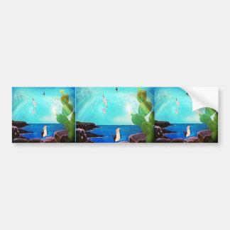 Pegatina Para Coche Pintura azul de los pájaros de vuelo del océano