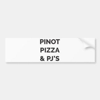 Pegatina Para Coche Pizza, Pinot e impresión divertida del vino del PJ