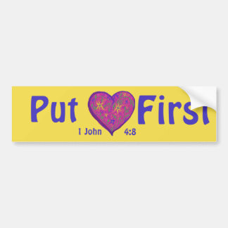 Pegatina Para Coche Ponga el amor primero, porque dios es amor