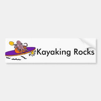 Pegatina Para Coche Pulpo púrpura divertido Kayaking