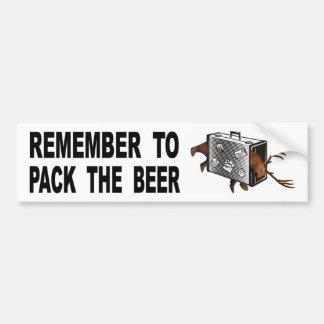 Pegatina Para Coche Recuerde embalar la cerveza
