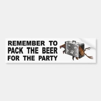 Pegatina Para Coche Recuerde embalar la cerveza para el fiesta