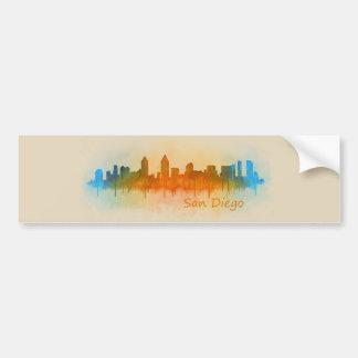 Pegatina Para Coche San Diego California City Skyline Watercolor v03