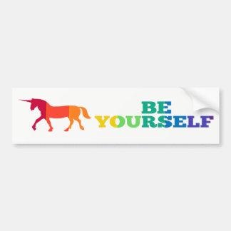Pegatina Para Coche Sea usted mismo unicornio del arco iris
