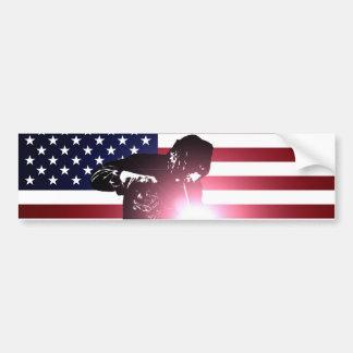 Pegatina Para Coche Soldador y bandera americana