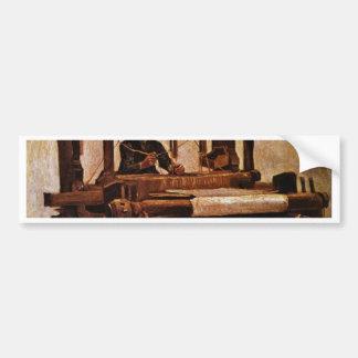 Pegatina Para Coche Tejedor en el telar de Vincent van Gogh