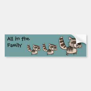 Pegatina Para Coche Todos en la familia, Racoon