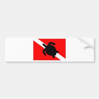 Pegatina Para Coche Tortuga de la bandera de la zambullida III