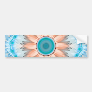 Pegatina Para Coche Turquesa limpia y pura y flor blanca del fractal