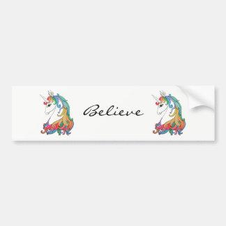 Pegatina Para Coche Unicornio lindo del arco iris de la acuarela