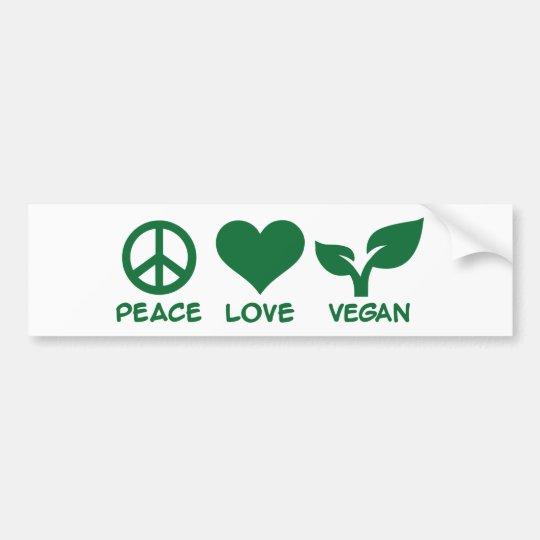 Pegatina Para Coche Vegano del amor de la paz