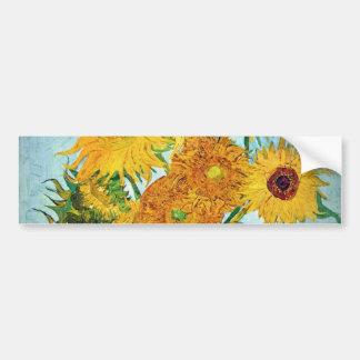 Pegatina Para Coche Vincent van Gogh - florero con 12 girasoles