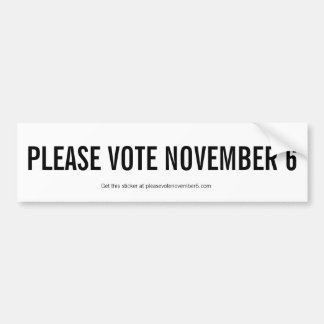 Pegatina Para Coche Vote por favor el 6 de noviembre