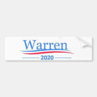 Pegatina Para Coche Warren para el presidente 2020, blanco clásico de
