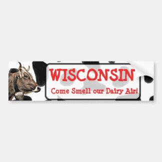 Pegatina Para Coche Wisconsin, huele nuestra camisa de la vaca del