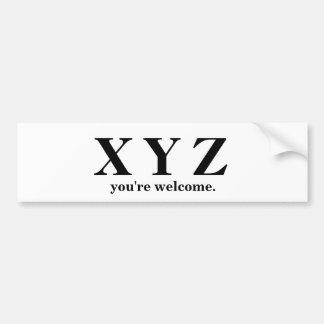 Pegatina Para Coche ¡X, Y, ayuda del juego de Z ABC!