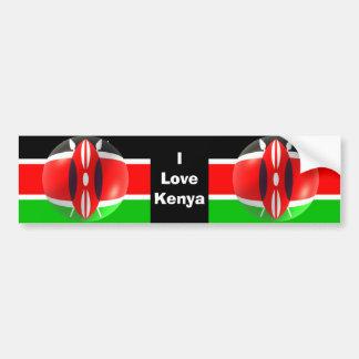 Pegatina para el parachoques de la bandera de Keni Pegatina De Parachoque