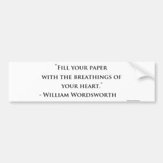 Pegatina para el parachoques de la cita de William