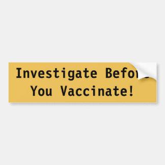 Pegatina para el parachoques de la vacunación