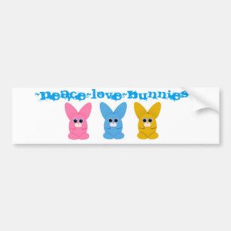 Pegatina para el parachoques de Peace~Love~Bunnies