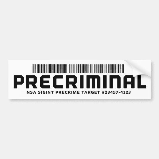 Pegatina para el parachoques de Precriminal