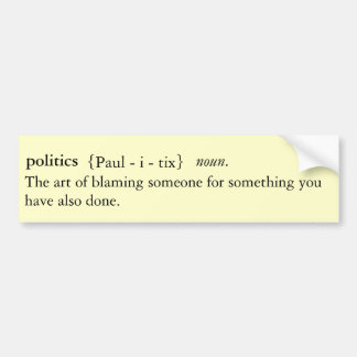 Pegatina para el parachoques definida política etiqueta de parachoque