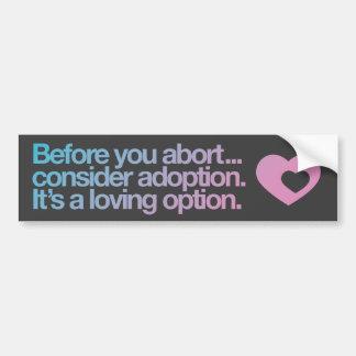 Pegatina para el parachoques del aborto/de la pegatina para coche