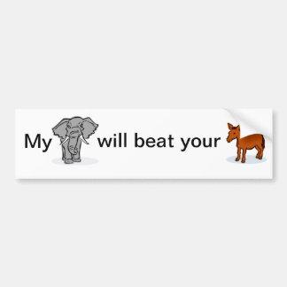 Pegatina para el parachoques, elefante y burro pol etiqueta de parachoque