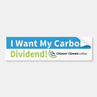Pegatina para el parachoques: Quiero mi dividendo Pegatina Para Coche