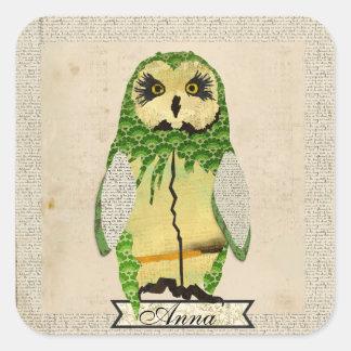 Pegatina personalizado búho gitano del jade