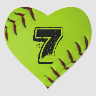 Pegatina personalizado del corazón del softball