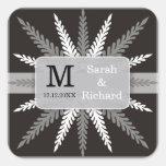 Pegatina-Plata con monograma del boda en negro