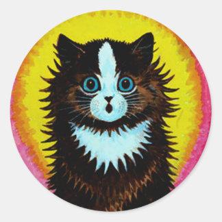 Pegatina psicodélico del gato de Louis Wain