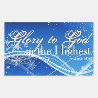 """Pegatina Rectangular 2:14 """"gloria de Lucas a dios en"""" el navidad más"""