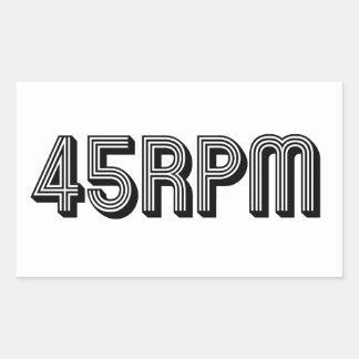 Pegatina Rectangular 45 amantes del vinilo de la RPM