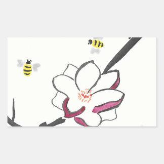 Pegatina Rectangular Abejas de la magnolia y de la miel