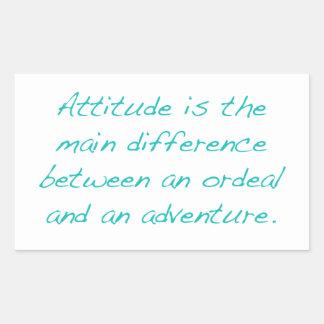 Pegatina Rectangular Actitud -- prueba dura o aventura (verde)