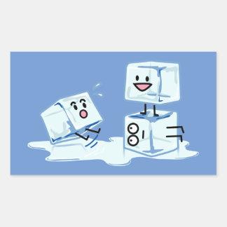 Pegatina Rectangular agua helada del cubo de los cubos de hielo que