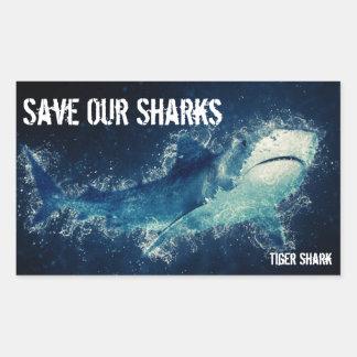 Pegatina Rectangular Ahorre nuestro tiburón de tigre de los tiburones