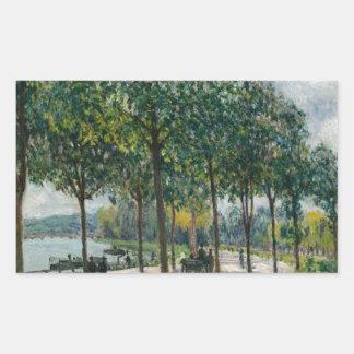 Pegatina Rectangular Allée de los árboles de castaña - Alfred Sisley