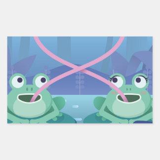 Pegatina Rectangular amantes de la rana del día de San Valentín