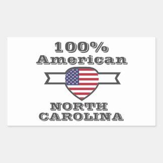 Pegatina Rectangular Americano del 100%, Carolina del Norte