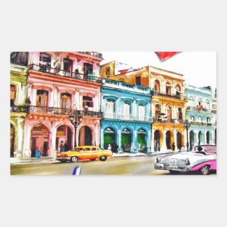 Pegatina Rectangular Amo Cuba