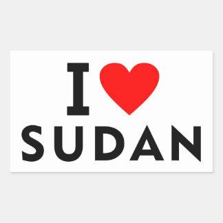 Pegatina Rectangular Amo el país de Sudán como el turismo del viaje del